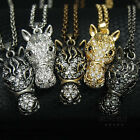 Race Horse Head Pendant Long Chain Necklace Animal Jewelry Gold Silver Black