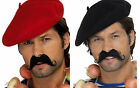 Adult French Red Black Beret Onion Garland Moustache Fancy Dress Accessories