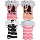Women's Short Turn Up Sleeves Striped Baggy Ladies Oversized Smart Top