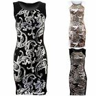 Women's Sequin Bodycon Sexy Black Silver Gold Front Back Ladies Party Dress
