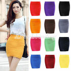 Women Bodycon Bandage Stretch Ribbed Panel A-Line Slim Seamless Mini Party Skirt