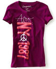 NEW Purple Aeropostale Womens Aero NY Peace Paint Graphic Tee Shirt Sz Large