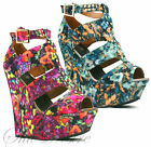 Ladies Platform Wedges High Tribal Floral Peep Toe Gladiator Sandal Shoes 74SD