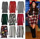 Women Red Green Tartan Check Print Long Sleeve Swing Skater Dress plus size 8-24