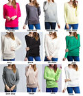 S-3XL Loose Fit Dolman Batwing Boat Neck Rayon Long Sleeves Tunic Knit Top