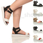 WOMENS LADIES FLATFORM PLATFORM CUT OUT ANKLE STRAP CLEATED SANDALS SIZE