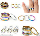 12pcs New Mixed Colors Stylish 3-Circle Hoop Curved Copper Charms Finger Rings
