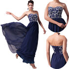 Sweet Navy Blue So Sexy Long Evening Ball Gown Bridlal Prom Party Pageant Dress
