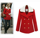 Womens Celebrity Wool Blend Double Breasted Jacket Ladies Casual Fur Collar Coat