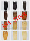 USA STOCK!Full Head 20inch Indian Remy Human Hair Clip In Extensions 8pcs & 140g