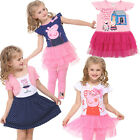 Lovely Girls Kids Peppa Pig Bow Ruffle Tulle Tutu Top Dress T-Shirt Skirt SZ1-6Y