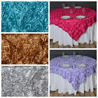 "NEW - 6 pcs 72x72"" SATIN Raised Roses TABLE OVERLAYS Fancy Wedding Party Linens"