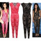 Ladies Celeb Bodycon Floral Lace Black Nude Cross Over Party Women's Jumpsuit