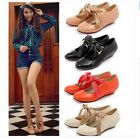 Womens Ladies Sweet Candy Patent Round Toe Ribbon Bow Tie Pumps Shoes Plus Size