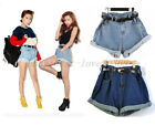 New Fashion Lady's Retro Denim High Waist Flange Blue Jean Shorts Pants