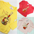 Girls Top Long Sleeve Guitar Tshirt Crew Neck 100% Cotton Age 3 4 5 6 7 Years