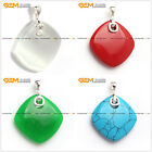 Fashion Lady silver pendant with rhombus beads 33x43mm +Free gift box/chain