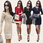 Vogue Women Sexy Long Sleeve Slim Bodycon Casual Dress Office Pencil Mini Dress