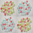 50 Wooden 2 Hole Buttons Gingham Polka Mix Colours Scrapbook Sewing Crafts
