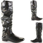 Ladies Flat Winter Biker Style Low Heel Calf High Leg Knee Boots Size New