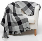 100% Cotton Checked Throws - Black & Grey Large Bedspread Throw Over