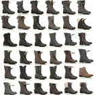 WOMENS MILITARY LADIES COMBAT ARMY BIKER LACE UP LOW HEEL FLAT BOOTS SIZE