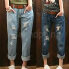 Retro Women Girl Loose Casual Wear-out Hole Pockets Denim Pants Jeans Trousers