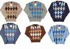 Men's Knitwear 100% Pure Shetland Wool V-Neck Argyle Jumper Diamond Jumpers