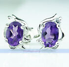 Genuine .8CT Oval Natural Gemstone Silver Stud Earrings