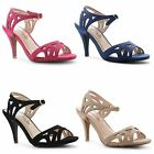 Ladies Womens Peep Toe Shoes Ankle Strappy Evening Party Heel Sandals Size 3-8