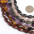 6x12mm mixed twist gemstone jewelry making beads 15 inches ,14 materials select