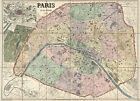 1878 Large Colorful Wall  Map Paris France