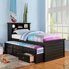 Kids Twin Bed Build in Bookcase Headboard Trundle 3 Storage Drawers Black Cherry