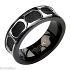 HOT MENS INOX SILVER BLACK STAINLESS STEEL CABLE INLAY OVAL WINDOW BAND RING