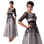 Newest Ladies Girl Half Sleeve Black Lace Casual Cocktail Pageant Evening Dress
