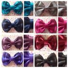 "SMALL HANDMADE DARK SATIN 3"" BOW HAIR CLIP CUTE VINTAGE RETRO STYLE GLAMOUR"