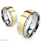 CLASSY MENS WOMENS STAINLESS STEEL SILVER WEDDING BAND RING WITH GOLD IP SPINNER