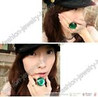 Retro Bronze Style Big Green Rhinestone Crystal Resizable Ring