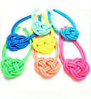beautiful 15 color national Style rope weaving  Punk Chinese knot charm necklace