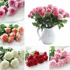 10/20 Heads Real Touch Latex Rose Flowers Bouquet Wedding Party Home Decorations