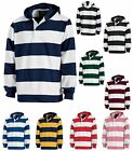 "MEN'S MID-WEIGHT, RUGBY INSPIRED PULLOVER HOODIE SHIRT, 4"" STRIPE S M L XL 2X 3X"