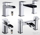 STYLISH WATERFALL BATHROOM SET, MODERN CHROME BASIN MIXER AND BATH FILLER TAPS
