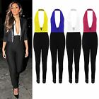 Women's Halterneck Nicole Celeb Low Cut V Neck Backless Ladies Trousers Jumpsuit