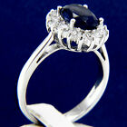 3.16 CT Solitaire Blue Sapphire CZ Engagement 925 Sterling Silver Wedding Ring