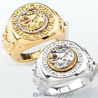 Men's 19mm Band Ring Cool Lion Eagle Star 18KGP Size 7-15