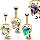 New Gold Plated Dolphin Belly Navel Bar with Gem 14g Choice of Gem Colour