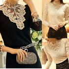 Sexy Womens Ladies High Neck Long Sleeve Lace Tops T-Shirt Blouse Pullover