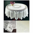 Traditional Lace Table Cloths – Floral Jacquard Round White Kitchen Tablecloths