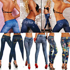 New Sexy Womens Leggings/Jeggings Fashion Tattoo Jeans Look Trousers Size 6-12