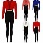 Women's Plunge V Neck Contrast Buckle Ladies Long Sleeve Trousers Jumpsuit